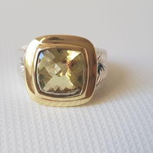 David Yurman Albion 11mm Lemon Citrine Ring With G